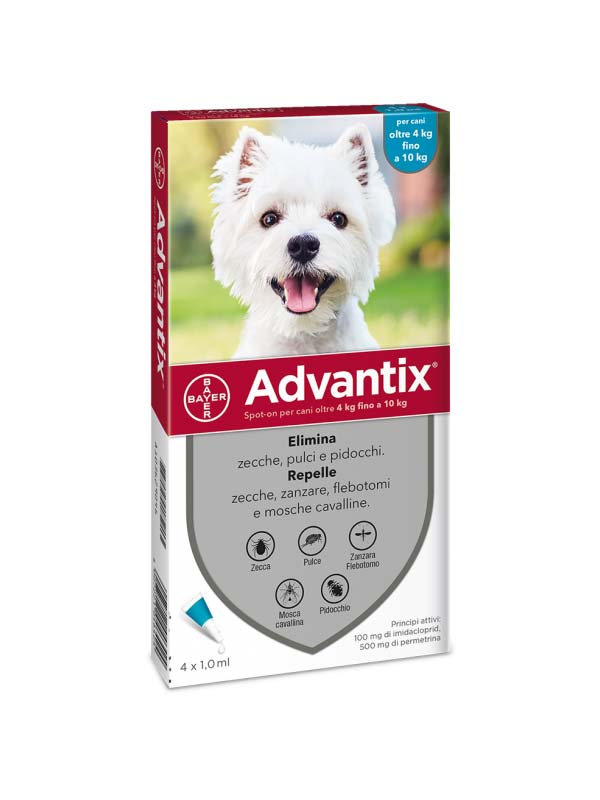 ADVANTIX SPOT ON PER CANI DA 4 A 10 KG 4 PIPETTE DA 1 ML