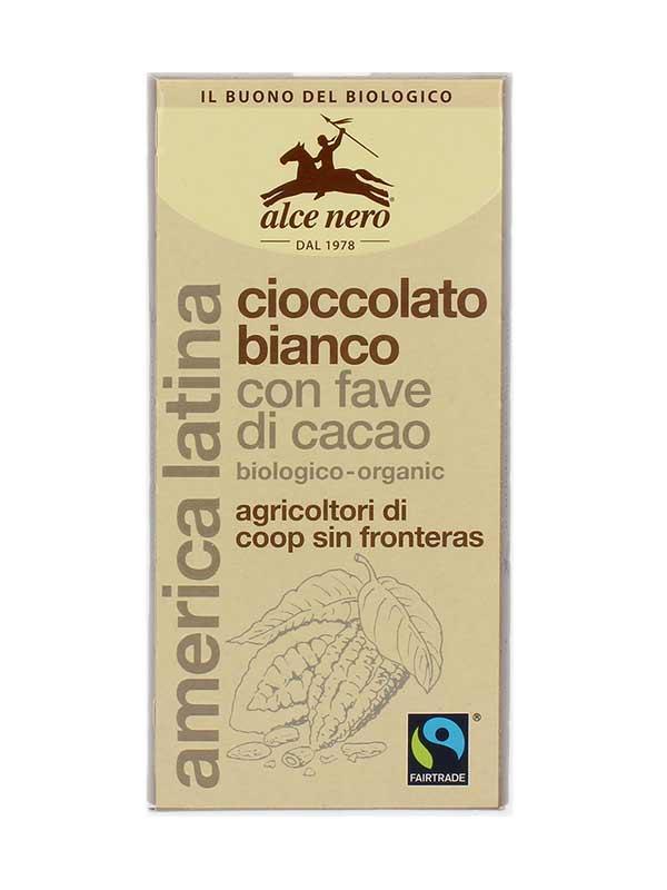ALCE NERO CIOCCOLATO BIANCO CON FAVE DI CACAO BIOLOGICO - 100 G
