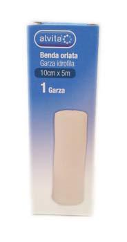 ALVITA BENDA ORLATA GARZA IDROFILA 10 CM x 5 M - 1 PEZZO
