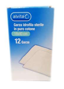 ALVITA GARZA IDROFILA STERILE 18x40 CM - 12 PEZZI
