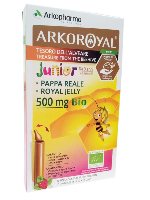 ARKO ROYAL PAPPA REALE BIO 500 MG JUNIOR GUSTO FRAGOLA 10 FLACONCINI DA 15 ML