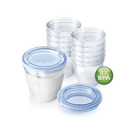 AVENT CONTENITORI(10 vasetti+10 coperchi) per latte materno VIA