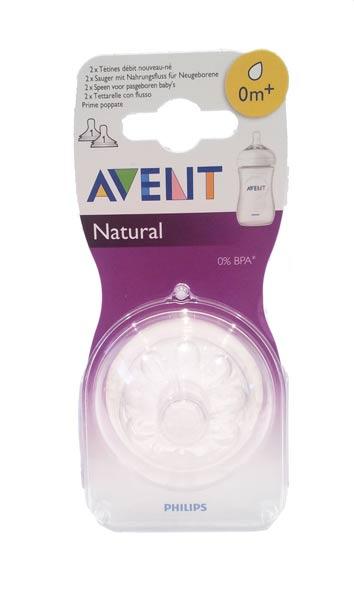 AVENT TETTARELLA NATURAL 0M+ PRIME POPPATE - BPA FREE - 2 TETTARELLE