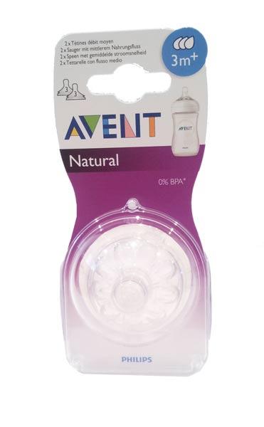 AVENT TETTARELLA NATURAL 3M+ CON FLUSSO MEDIO - BPA FREE - 2 TETTARELLE