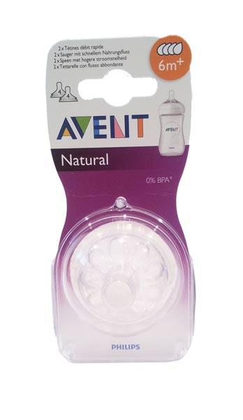 AVENT TETTARELLA NATURAL 6M+ CON FLUSSO ABBONDANTE - BPA FREE - 2 TETTARELLE