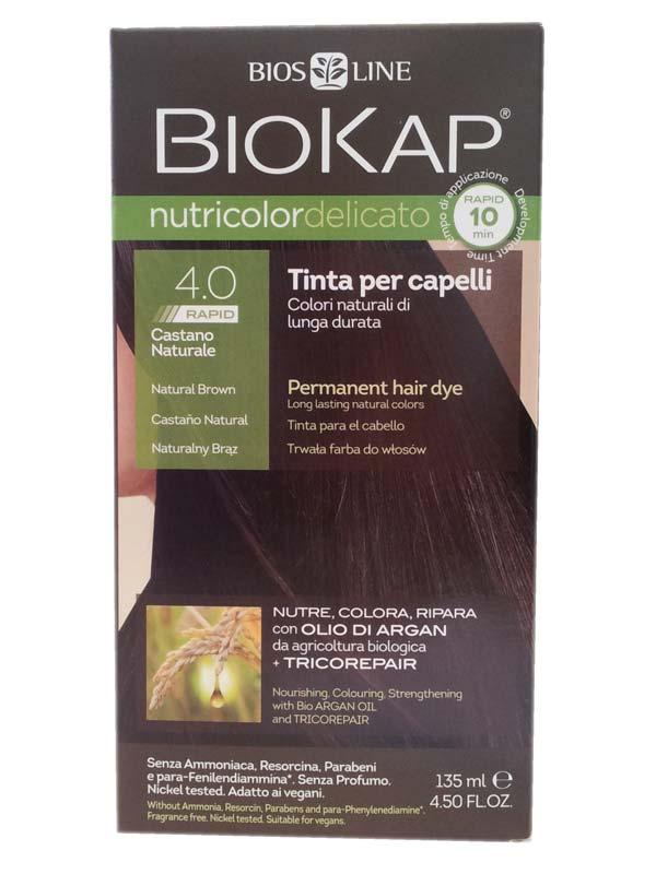 BIOKAP NUTRICOLOR DELICATO RAPID TINTA 4.0 CASTANO NATURALE 135 ML