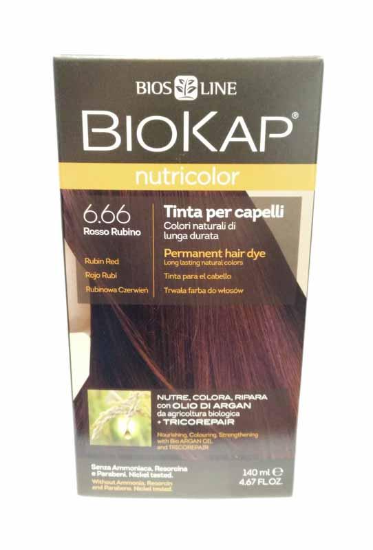 BIOKAP NUTRICOLOR TINTA 6.66 ROSSO RUBINO 140 ML