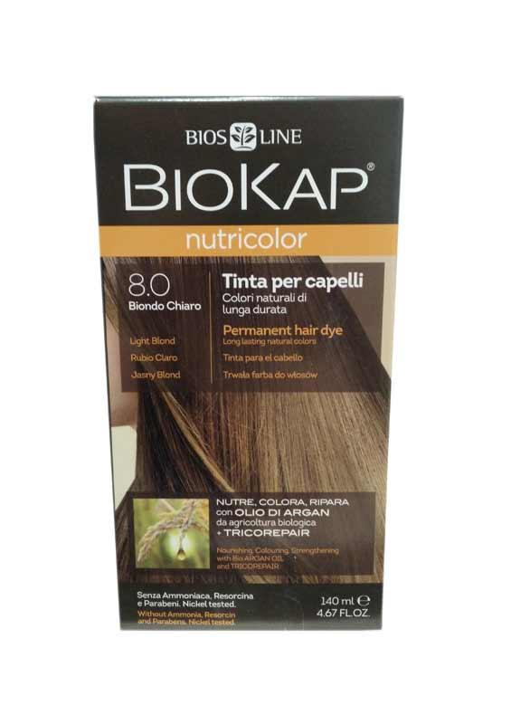 BIOKAP NUTRICOLOR TINTA 8.0 BIONDO CHIARO 140 ML