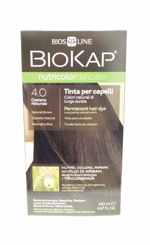 BIOKAP NUTRICOLOR TINTA DELICATO - 4.0 CASTANO NATURALE - 140 ML
