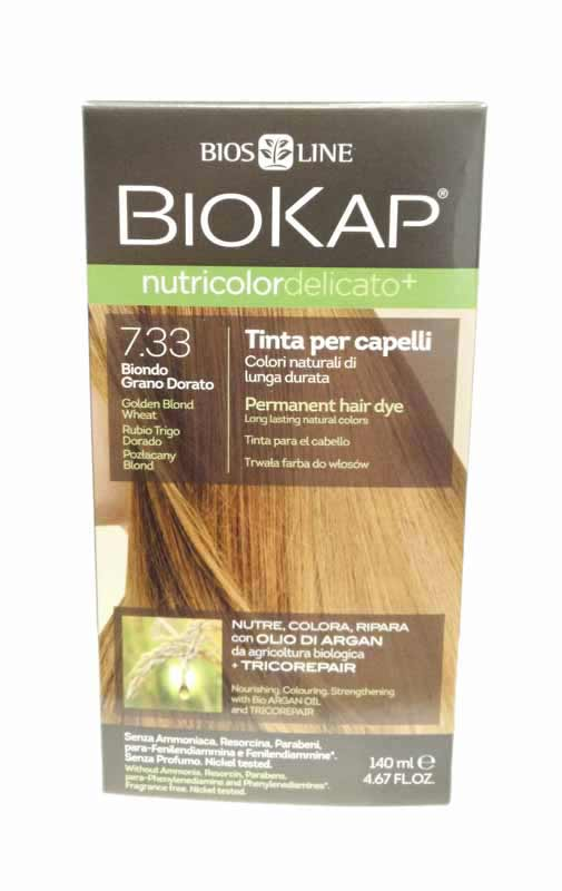 BIOKAP NUTRICOLOR TINTA DELICATO+ - 7.33 BIONDO GRANO DORATO - 140 ML