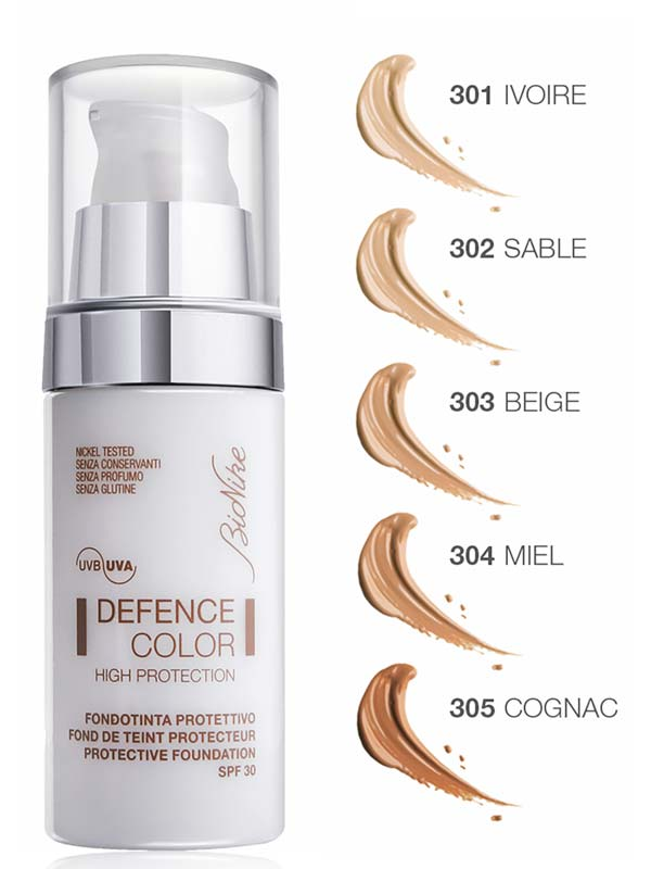 BIONIKE DEFENCE COLOR HIGH PROTECTION FONDOTINTA PROTETTIVO SPF 30 N 304 MIEL 30 ML