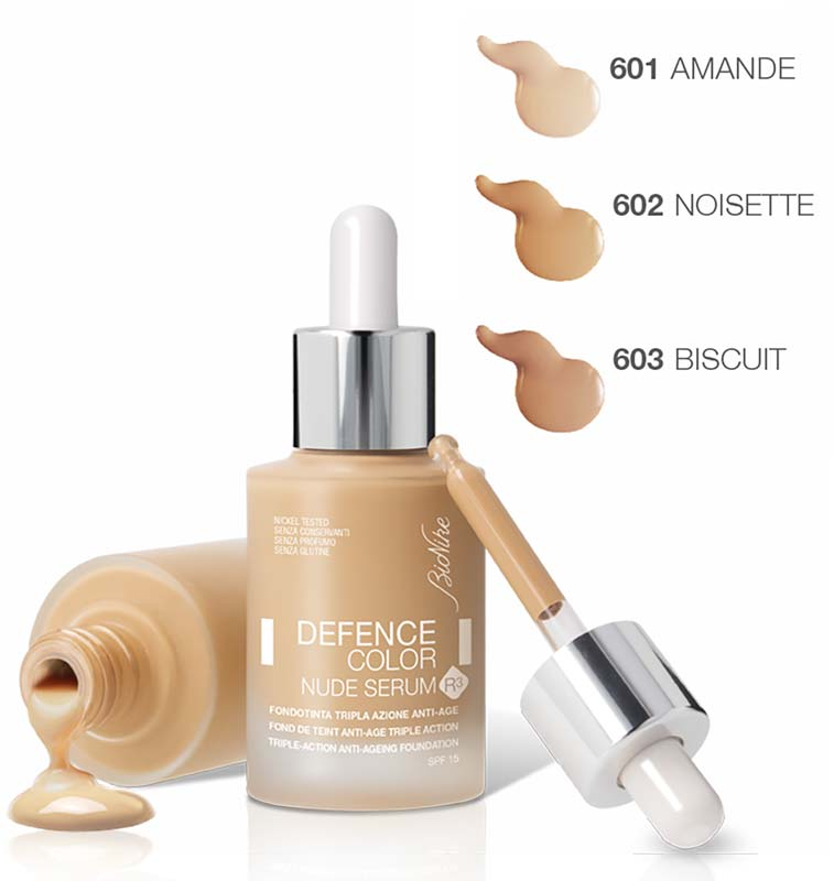 BIONIKE DEFENCE COLOR NUDE SERUM R3 FONDOTINTA LIQUIDO SPF 15 N 602 NOISETTE 30 ML