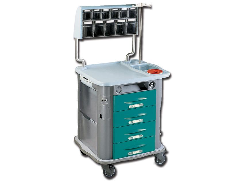 CARRELLO AURION MEDICAZIONE - verde - 4 cassetti