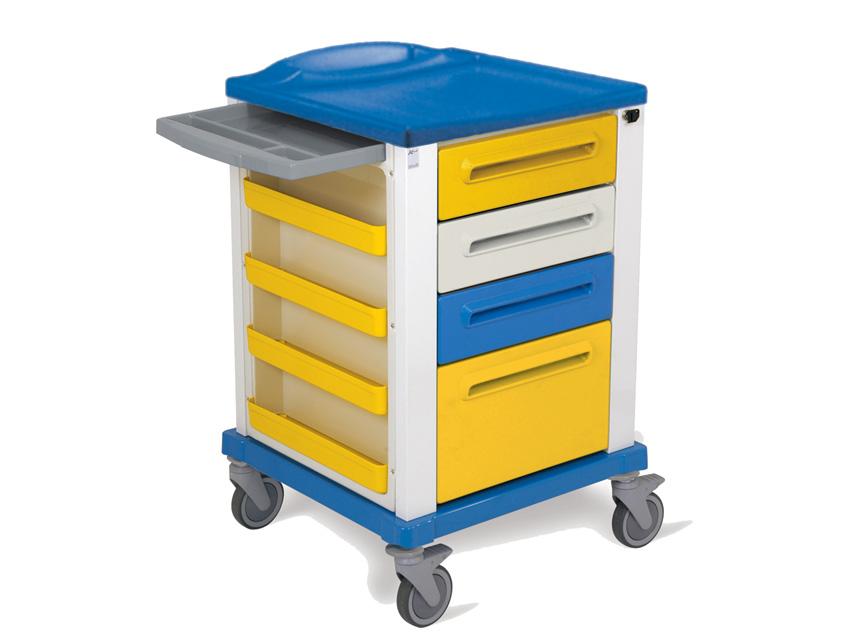 CARRELLO BASIC - piccolo - 4 cassetti - giallo