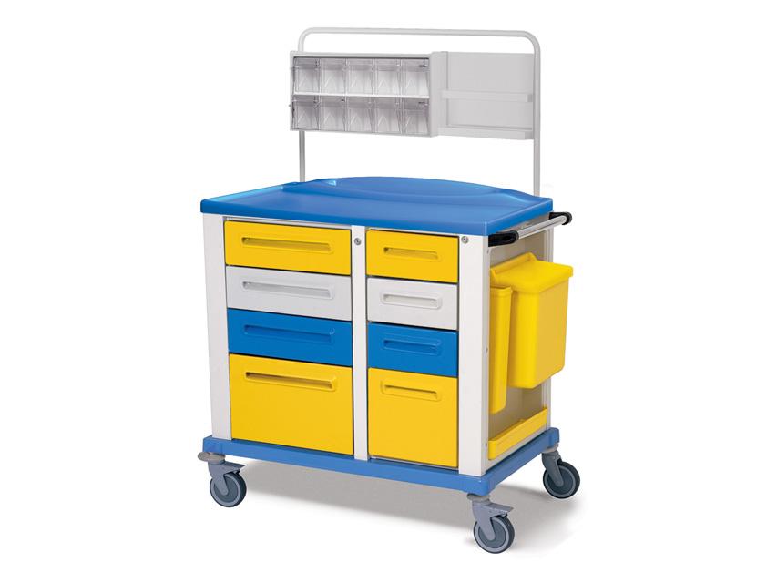 CARRELLO MEDICAZIONE - medio - 8 cassetti - giallo