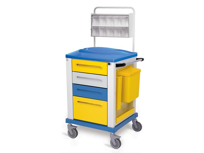 CARRELLO MEDICAZIONE - piccolo - 4 cassetti - giallo