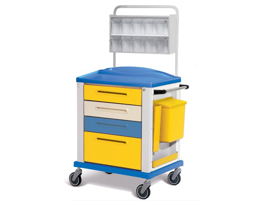 CARRELLO MEDICAZIONE - standard - 4 cassetti - giallo