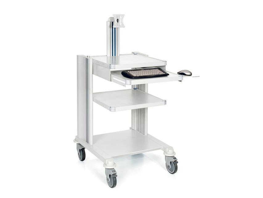 CARRELLO PROFESSIONALE - 2 ripiani + tastiera e supporto monitor