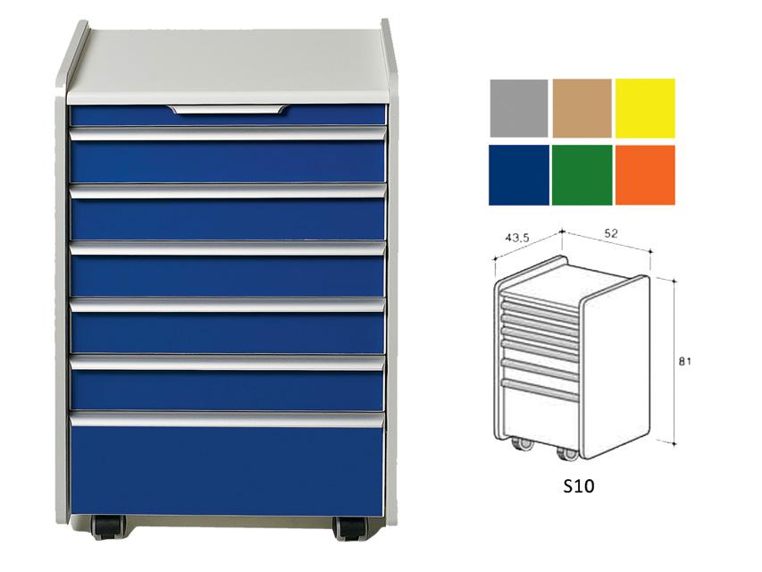 CASSETTIERA S10 - colore a richiesta (grigio, beige, giallo, blu, verde, arancione)
