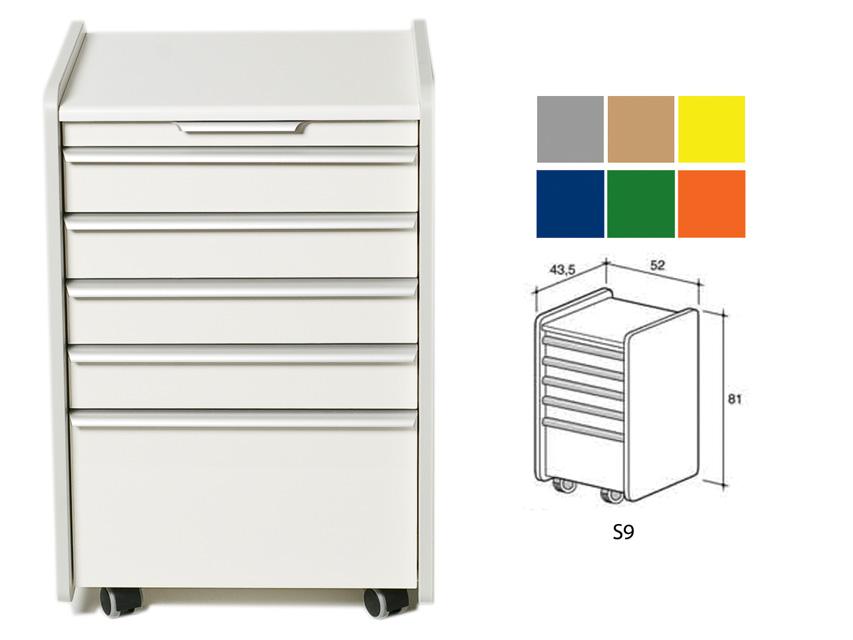 CASSETTIERA S9 - colore a richiesta (grigio, beige, giallo, blu, verde, arancione)