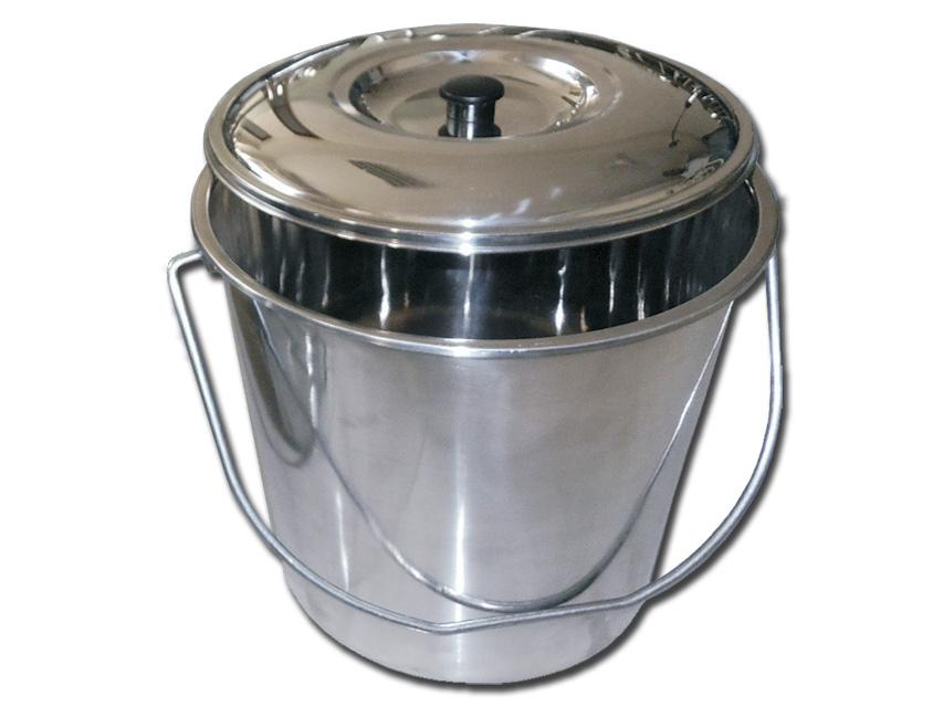 CESTINO ACCIAIO INOX - con coperchio - 15 l