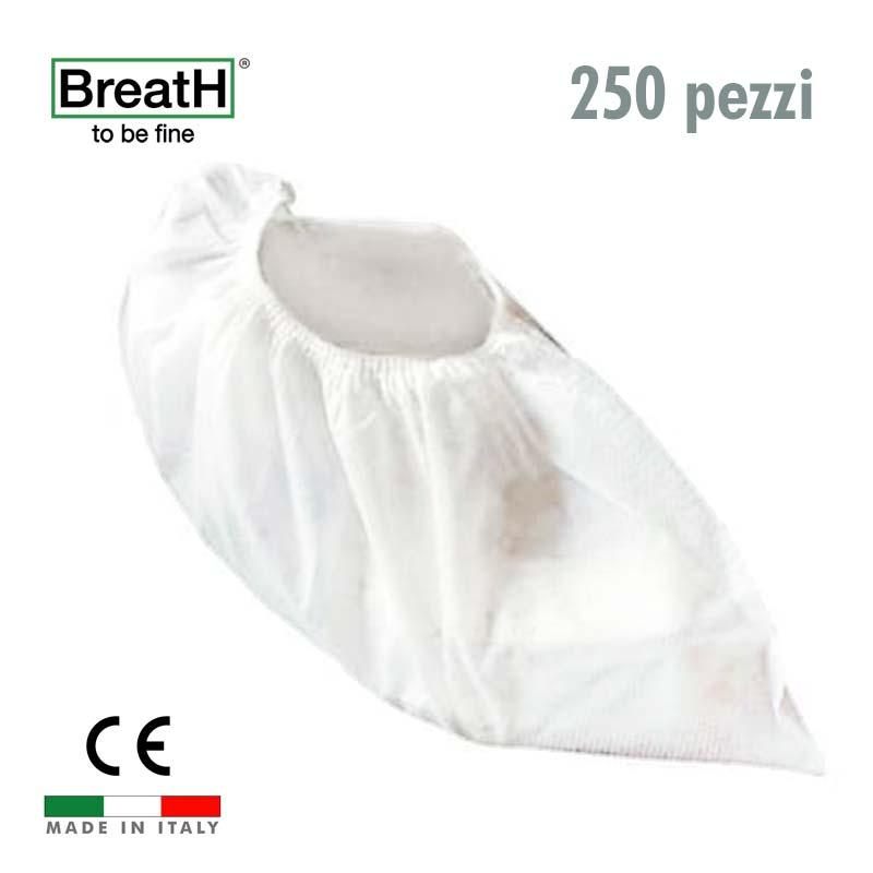 Copriscarpe monouso TNT bianco con elastico - confezione 250 pezzi