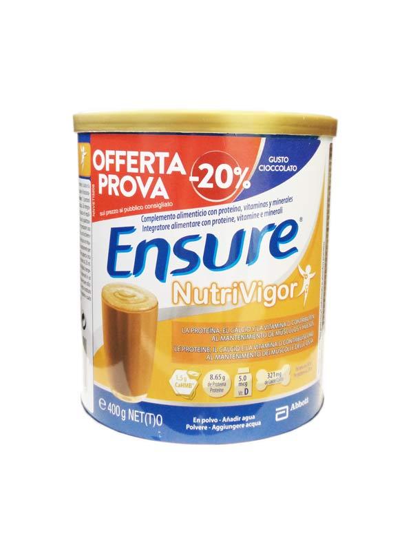 ENSURE NUTRIVIGOR INTEGRATORE IN POLVERE PER IL MANTENIMENTO DI MUSCOLI E OSSA - GUSTO CIOCCOLATO - 400 G