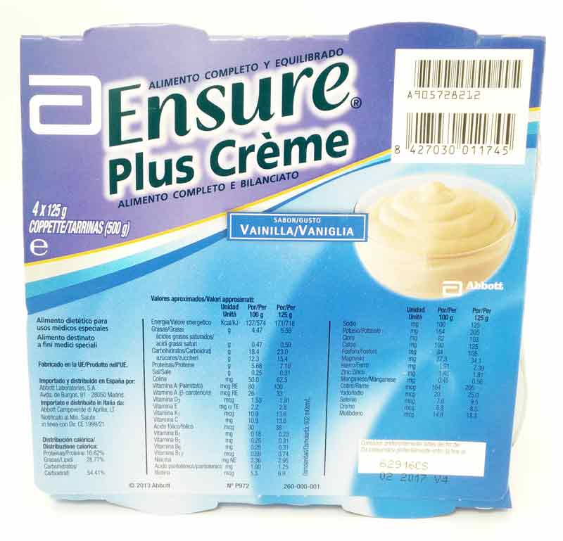 ENSURE PLUS CREME GUSTO VANIGLIA 4x125 G