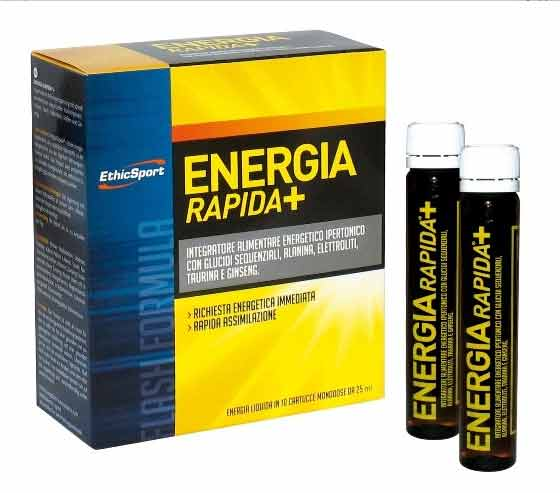 ETHIC SPORT ENERGIA RAPIDA + INTEGRATORE ALIMENTARE ENERGETICO IPERTONICO - 10 FIALE DA 25 ML