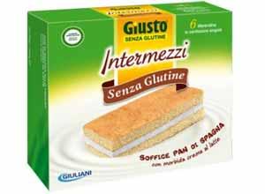 GIUSTO SENZA GLUTINE - INTERMEZZI PAN DI SPAGNA AL CACAO FARCITI CON CREMA AL LATTE - 180 G