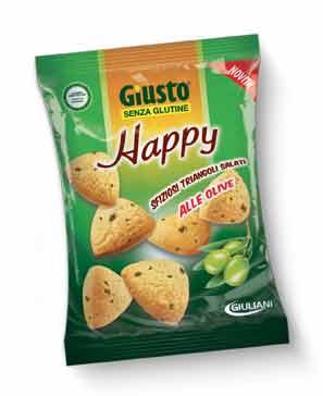 GIUSTO SENZA GLUTINE HAPPY TRIANGOLINI SALATI ALLE OLIVE 50 G