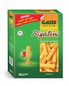 GIUSTO SENZA GLUTINE PASTA MAIS E RISO - RIGATONI - 500 G
