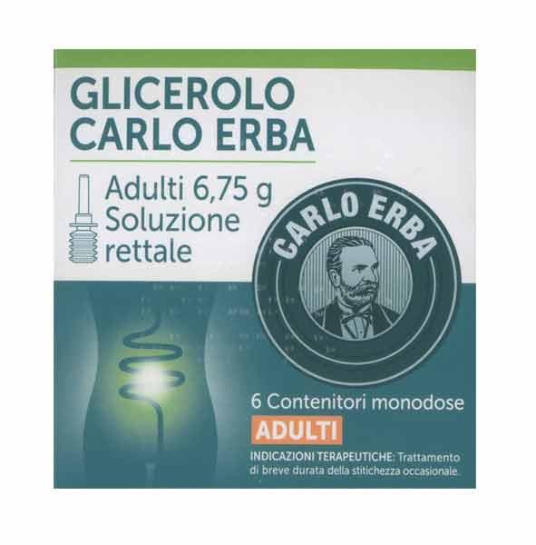 GLICEROLO CARLO ERBA SOLUZIONE RETTALE PER ADULTI 6 CONTENITORI MONODOSE DA 6,75 G
