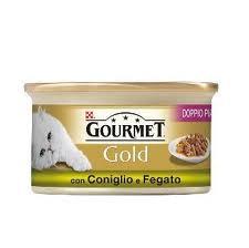 GOURMET GOLD DOPPIO PIACERE PER GATTI GUSTO CONIGLIO E FEGATO GR.85 - 24 CONFEZIONI