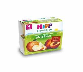 HIPP MERENDA DI FRUTTA GRATTUGIATA MELA E PESCA - DAL QUARTO MESE - 4 x 100 G