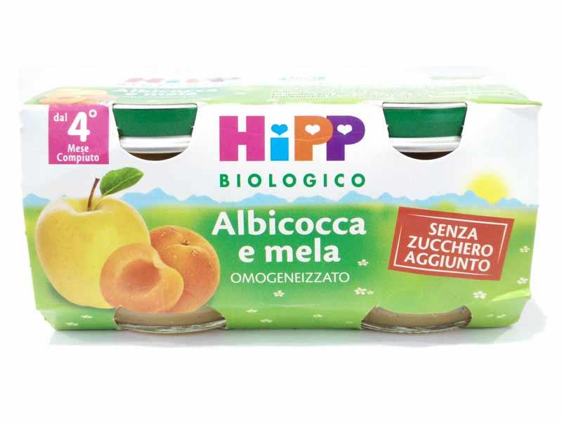 HIPP OMOGENEIZZATI ALBICOCCA E MELA DAL QUARTO MESE 2x80 G