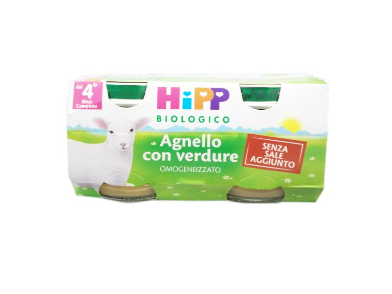HIPP OMOGENEIZZATO AGNELLO CON VERDURE - DAL QUARTO MESE - 2 x 80 G