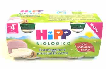 HIPP OMOGENEIZZATO FORMAGGINO E PROSCIUTTO COTTO - DAL QUARTO MESE - 2 x 80 G