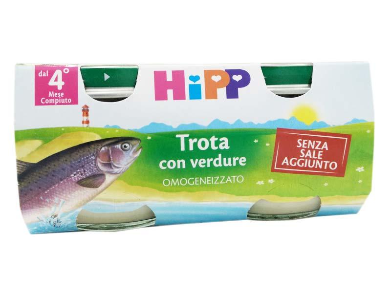 HIPP OMOGENEIZZATO TROTA CON VERDURE QUARTO MESE 2x80 G