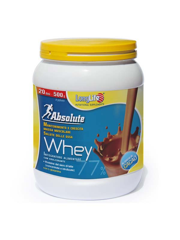 LONGLIFE ABSOLUTE WHEY INTEGRATORE DI PROTEINE GUSTO CACAO - 500 G
