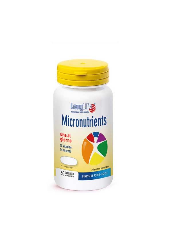 LONGLIFE MICRONUTRIENTS INTEGRATORE MULTIVITAMINICO MULTIMINERALE - 30 TAVOLETTE