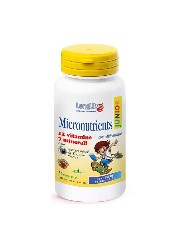 LONGLIFE MICRONUTRIENTS JUNIOR INTEGRATORE MULTIVITAMINICO MULTIMINERALE - 60 TAVOLETTE