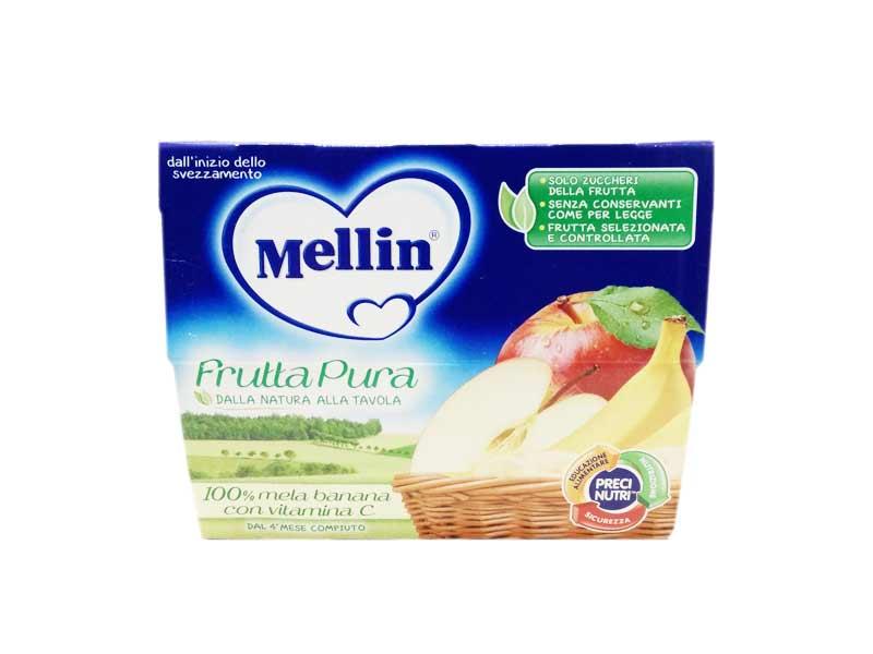 MELLIN FRUTTAPURA 100% MELA E BANANA CON VITAMINA C DAL QUARTO MESE 4 x 100 G