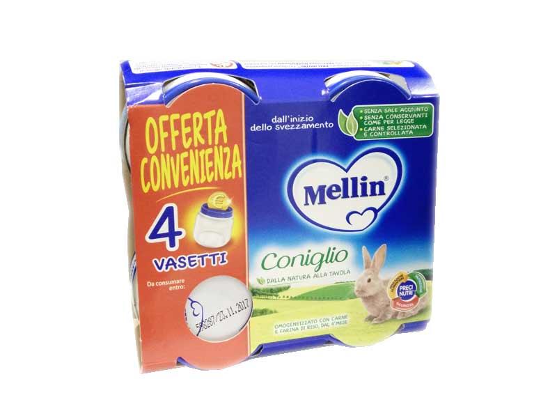 MELLIN OMOGENEIZZATO CONIGLIO DAL QUARTO MESE 4 x 80 G OFFERTA CONVENIENZA