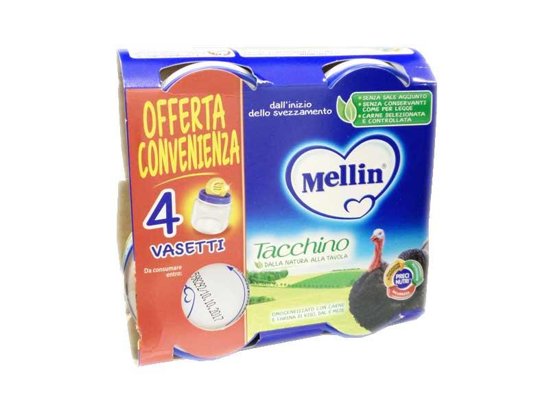 MELLIN OMOGENEIZZATO TACCHINO DAL QUARTO MESE 4 x 80 G OFFERTA CONVENIENZA