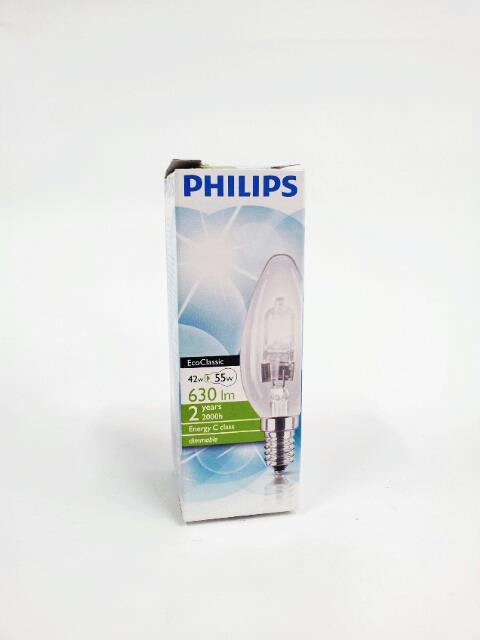 PHILIPS LAMPADINA ECOCLASSIC OLIVA - 42W E14 SES 230V B35 CLEAR