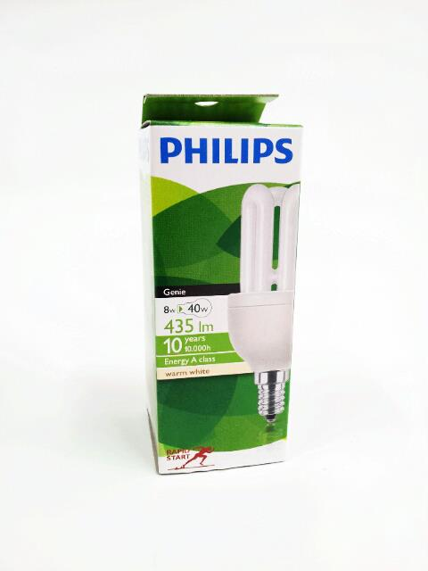 PHILIPS LAMPADINA GENIE ESAVER - 8W E14 SES 220-240V WW 827 WARM WHITE