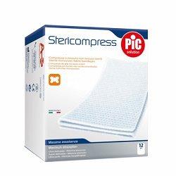 PIC SOLUTION STERICOMPRESS COMPRESSE DI GARZA STERILI 12 PEZZI DA 36 x 40 CM