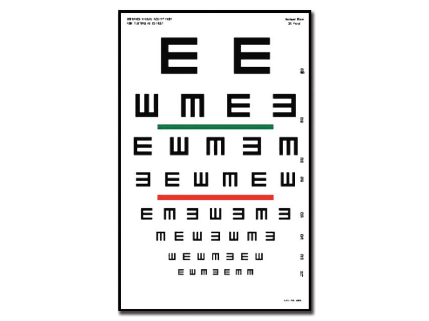 "TAVOLA OPTOMETRICA TUMBLING ""E"" 23 x 35.5 - 6.1 m"