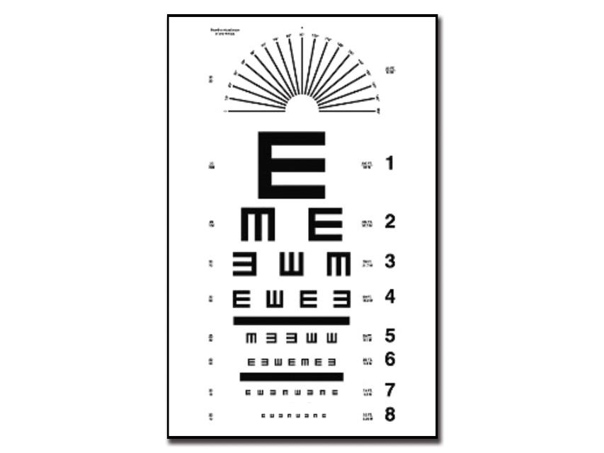"TAVOLA OPTOMETRICA TUMBLING ""E"" 28 x 56 - 6.1 m"